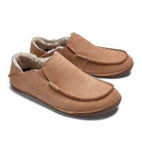 OluKai Men's Kipuka Hulu Nubuck Leather Slippers Natural/Natural - 10450-8787