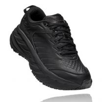 HOKA Women's Bondi SR Black Leather Slip Resistant - 1110521-BBLC