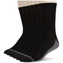 Fruit of the Loom Men's 6 Pack Heavy Duty Reinforced Cushion Full Crew Socks, Black, Shoe Size: 6-12
