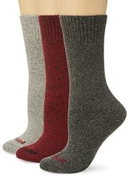 Timberland Women's 3-Pack Marled Full Cushioned Boot Socks, Red Multi, One Size